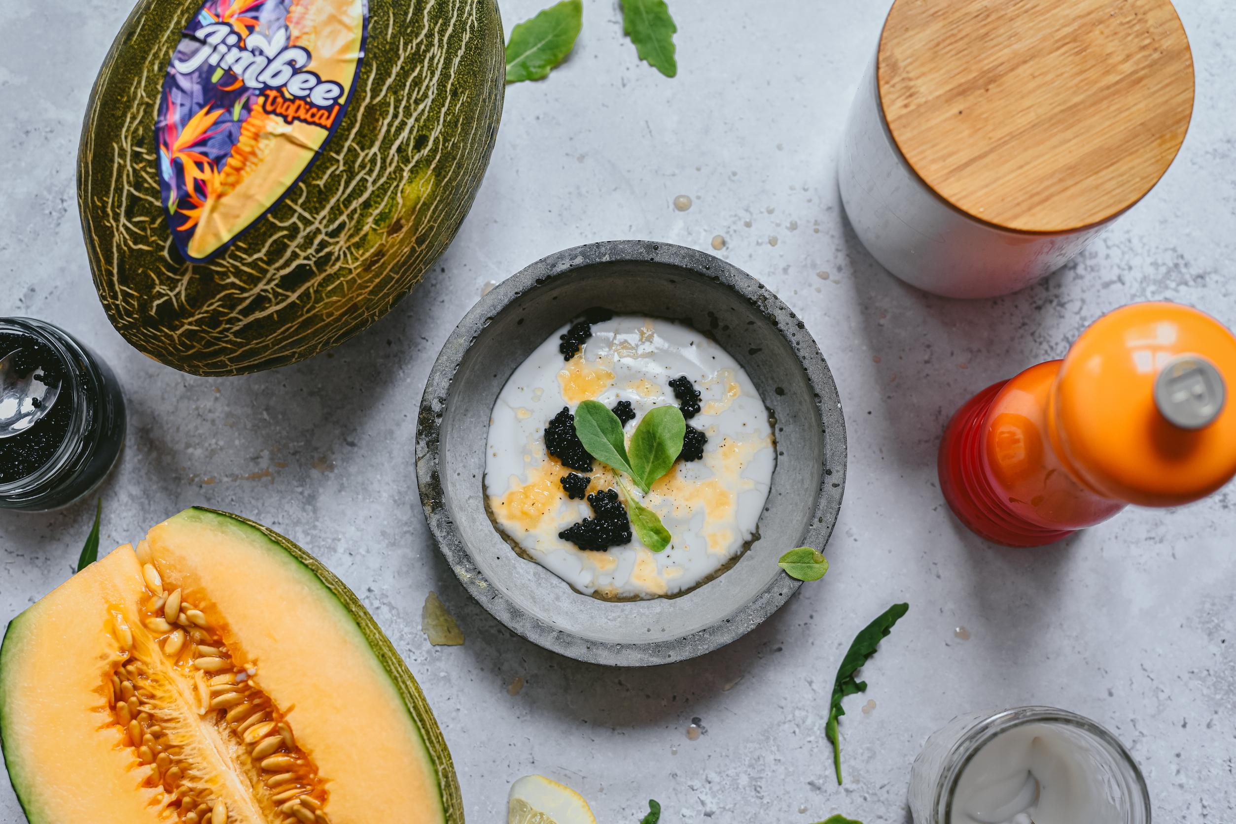 Escarcha de Melón Tropical con caviar