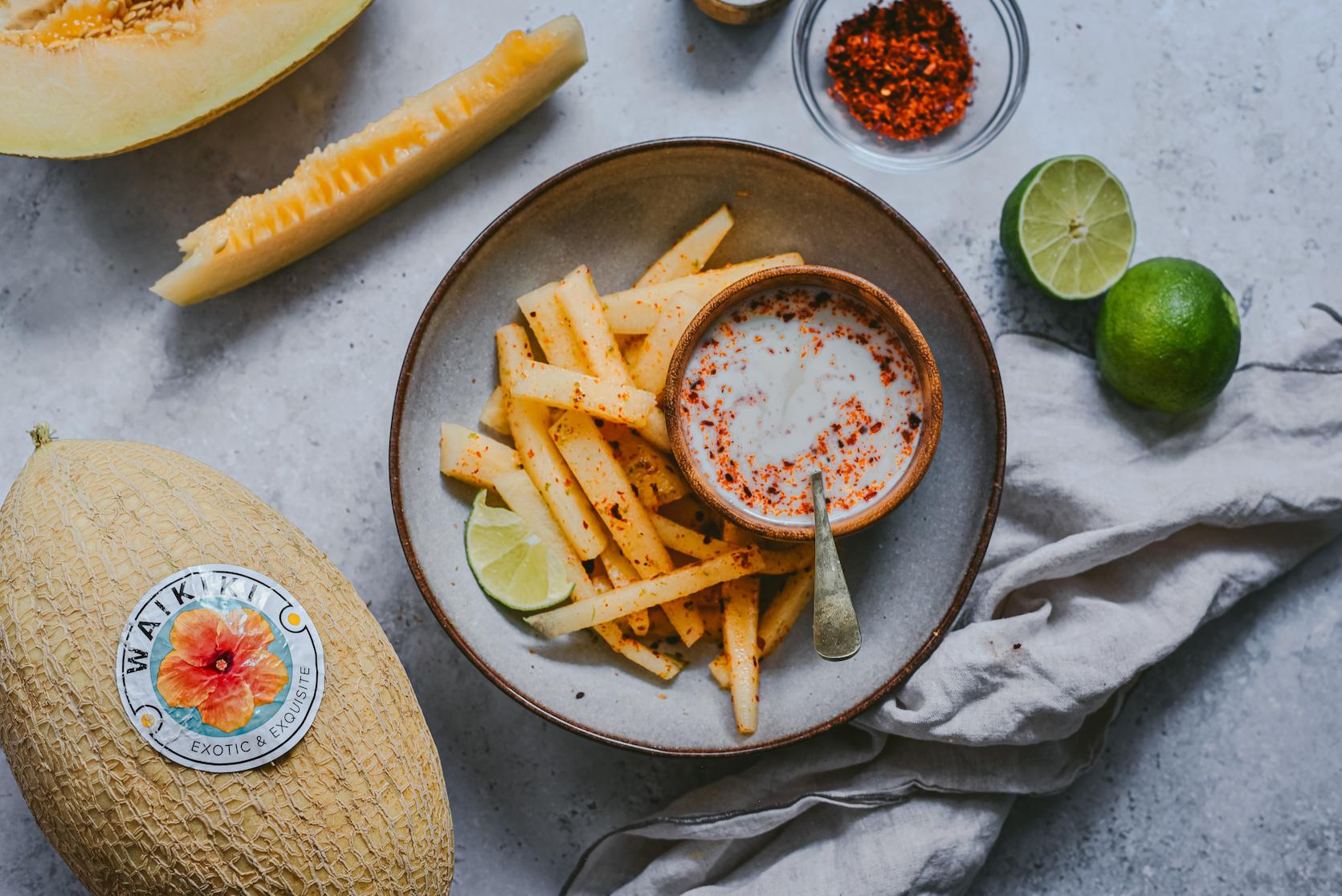 Fries de Melón Waikiki con salsa de yogur