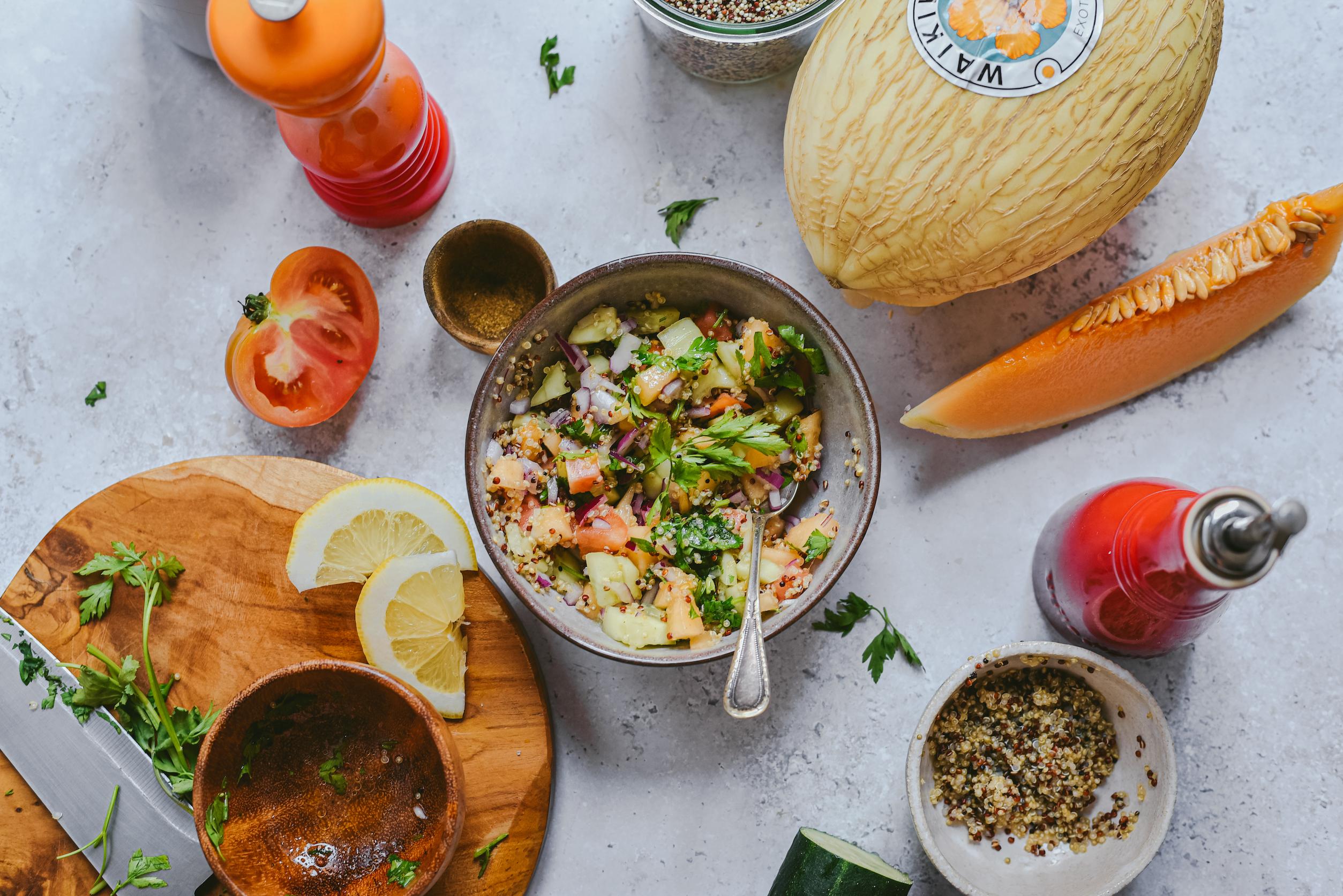 Tabulé de quinoa con melón Waikiki
